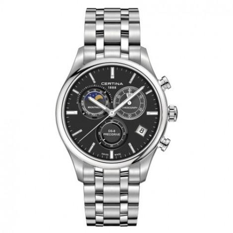 Szwajcarski, sportowo elegancki zegarek męski Certina DS-8 Chronograph Moon Phase C033.450.11.051.00 (C0334501105100)