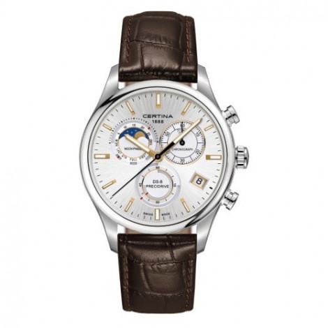Szwajcarski, sportowo elegancki zegarek męski Certina DS-8 Chronograph Moon Phase C033.450.16.031.00 (C0334501603100)