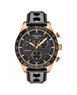 Szwajcarski, sportowy zegarek męski TISSOT PRS 516 CHRONOGRAPH T100.417.36.051.00 (T1004173605100) na skórzanym pasku