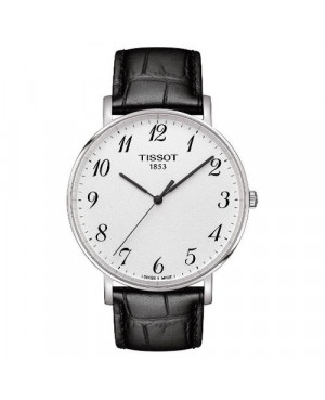 Szwajcarski, klasyczny zegarek męski TISSOT EVERYTIME LARGE T109.610.16.032.00 (T1096101603200) na skórzanym pasku