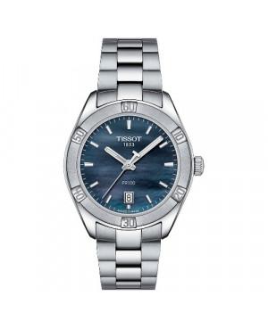 Szwajcarski, elegancki zegarek damski TISSOT PR 100 SPORT CHIC T101.910.11.121.00 (T1019101112100) na bransolecie sportowy