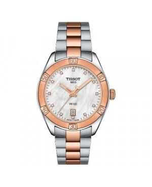 Szwajcarski, elegancki zegarek damski Tissot PR100 Sport Chic T101.910.22.116.00 (T1019102211600) na bransolecie z diamentami