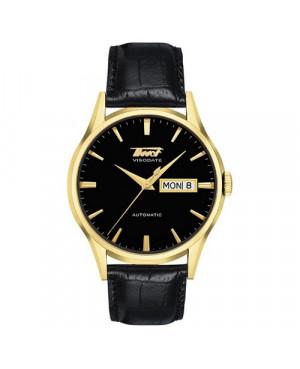 Szwajcarski, elegancki zegarek męski TISSOT Visodate T019.430.36.051.01 (T0194303605101) na czarnym pasku