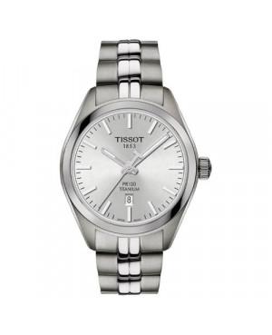 Szwajcarski, klasyczny zegarek damski TISSOT PR 100 LADY TITANIUM T101.210.44.031.00 (T1012104403100) na bransolecie z tytanu