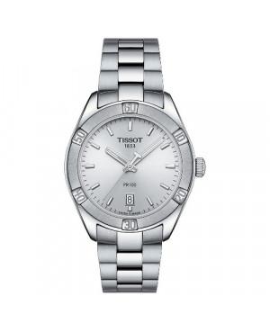 Szwajcarski, sportowy zegarek damski TISSOT PR 100 Sport Chic T101.910.11.031.00 (T1019101103100 na bransolecie