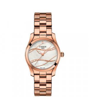 Szwajcarski, elegancki zegarek damski TISSOT T-WAVE T112.210.33.111.00 (T1122103311100) na bransolecie z diamentami