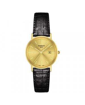 Szwajcarski, elegancki zegarek damski TISSOT GOLDRUN LADY 14K T922.210.06.021.00 (T9222100602100) klasyczny złoty płaski slim