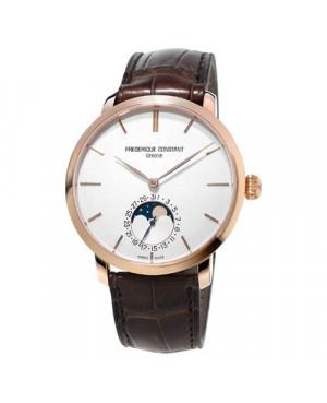 Szwajcarski, klasyczny zegarek męski FREDERIQUE CONSTANT Slimline Moonphase Manufacture 18K FC-705V4S9 (FC705V4S9)