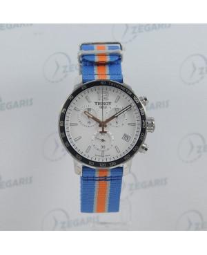 Sportowy zegarek męski Tissot Quickster Chronograph NBA New York Knicks Special Edition T095.417.17.037.06 (T0954171703706)