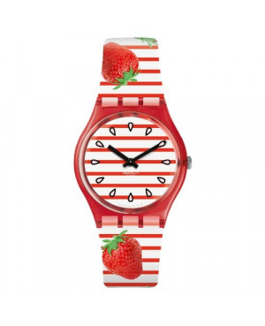 Modowy zegarek damski SWATCH Originals Gent GR177 TOILE FRAISEE pasek z truskawkami