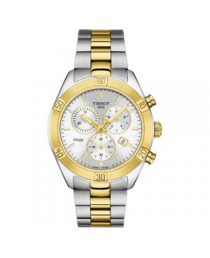 Szwajcarski, sportowy zegarek damski TISSOT PR 100 Sport Chic Chronograph T101.917.22.031.00 (T1019172203100) na bransolecie
