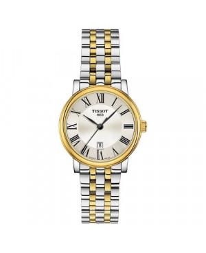 Szwajcarski, elegancki zegarek damski Tissot Carson Premium Lady T122.210.22.033.00 (T1222102203300) na bransolecie