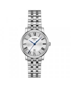 Szwajcarski, elegancki zegarek damski Tissot Carson Premium Lady T122.210.11.033.00 (T1222101103300) na bransolecie klasyczny