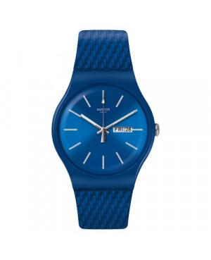 Szwajcarski, modowy granatowy zegarek męski SWATCH Originals New Gent SUON711 BRICABLUE