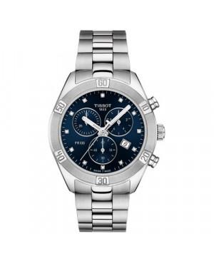 Szwajcarski, sportowy zegarek damski TISSOT PR 100 Sport Chic Chronograph T101.917.11.046.00 (T1019171104600) na bransolecie