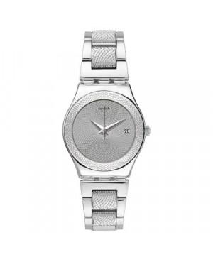 Szwajcarski, modowy zegarek damski SWATCH Irony Medium YLS466G CLASSY SILVER