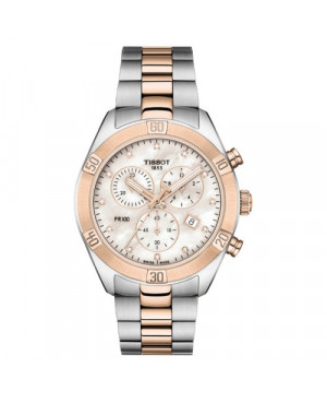 Szwajcarski, sportowy zegarek damski TISSOT PR 100 SPORT CHIC CHRONOGRAPH T101.917.22.116.00 (T1019172211600) na bransolecie