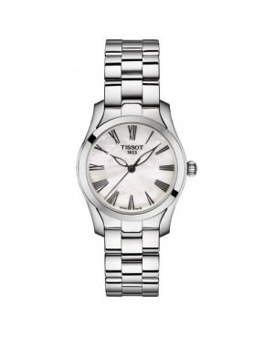 Szwajcarski, elegancki zegarek damski TISSOT T-WAVE T112.210.11.113.00 (T1122101111300) na bransolecie z cyframi