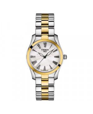 Szwajcarski, elegancki zegarek damski TISSOT T-WAVE T112.210.22.113.00 (T1122102211300) na bransolecie z cyframi klasyczny
