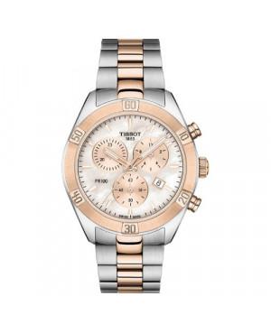 Szwajcarski, sportowy zegarek damski TISSOT PR 100 Sport Chic Chronograph T101.917.22.151.00 (T1019172215100) na bransolecie