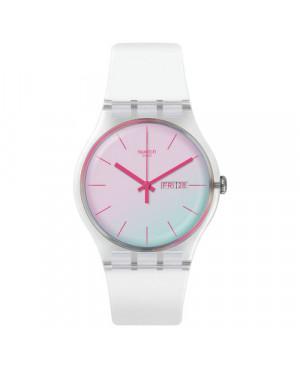 Szwajcarski, modowy zegarek damski SWATCH Originals New Gent SUOK713 POLAWHITE