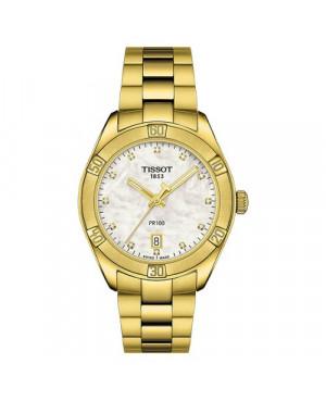 Szwajcarski, sportowy zegarek damski TISSOT PR 100 SPORT T101.910.33.116.01 (T1019103311601) z diamentami na bransolecie