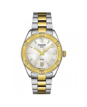 Szwajcarski, sportowy zegarek damski Tissot PR 100 SPORT CHIC T101.910.22.111.00 (T1019102211100) na bransolecie