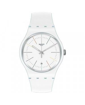 Szwajcarski, modowy zegarek damski SWATCH Originals New Gent SUOS404 WHITE LAYERED