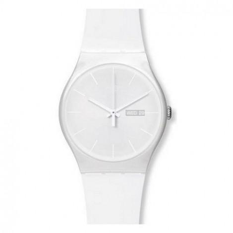 Szwajcarski, modowy zegarek damski SWATCH Originals New Gent SUOW701 WHITE REBEL