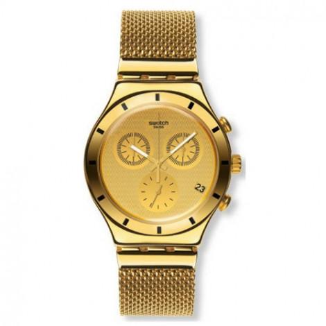 Szwajcarski, modowy zegarek damski SWATCH New Irony Chrono YCG410GA GOLDEN COVER