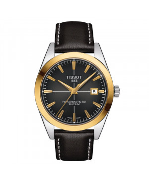 TISSOT T927.407.46.061.01 Gentleman Powermatic 80 Silicium Solid 18K Gold bezel zegarek męski klasyczny złoty