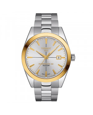 TISSOT T927.407.41.031.01 Gentleman Powermatic 80 Silicium Solid 18K Gold bezel zegarek męski klasyczny złoty