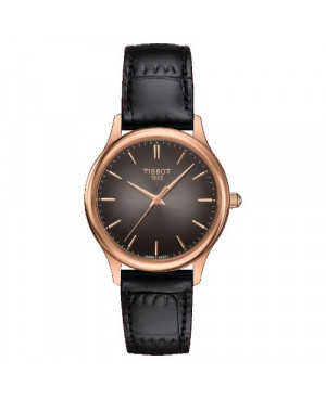 Szwajcarski, elegancki zegarek damski  TISSOT Excellence Lady 18K T926.210.76.061.00 (T9262107606100) złoty płaski