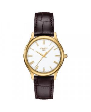 Szwajcarski, elegancki zegarek damski  TISSOT Excellence Lady 18K T926.210.16.013.00 (T9262101601300) złoty płaski