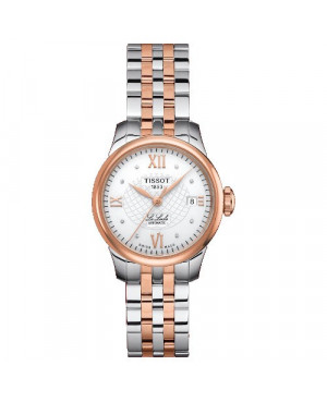 Szwajcarski, klasyczny zegarek damski TISSOT Le Locle T41.2.183.16 (T41218316) elegancki biżuteryjny z diamentami automatyczny