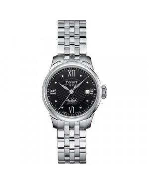 Szwajcarski, klasyczny zegarek damski TISSOT Le Locle T41.1.183.56 (T41118356) elegancki z diamentami szkło szafirowe