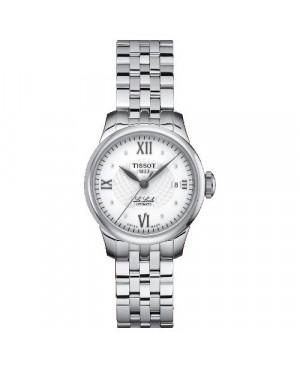 Szwajcarski, klasyczny zegarek damski TISSOT Le Locle T41.1.183.16 (T41118316) z diamentami automatyczny