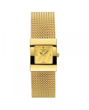 Szwajcarski, elegancki zegarek damski  TISSOT Bellflower Lady 18K T73.3.321.21 (T73332121) złoty na bransolecie biżuteryjny