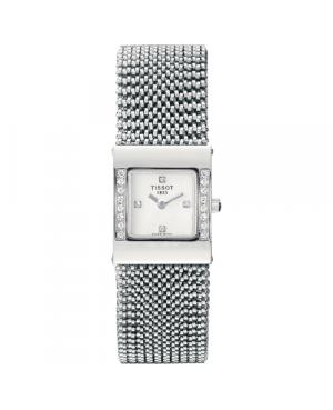 Szwajcarski, elegancki zegarek damski  TISSOT Bellflower T74.5.308.36 (T74530836) złoty z diamentami szkło szafirowe