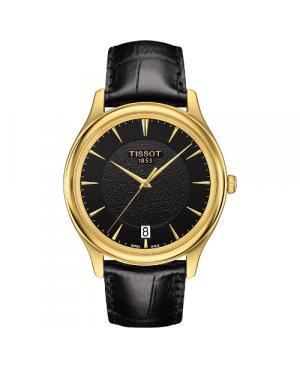 Elegancki zegarek męski TISSOT Fascination T924.410.16.051.00 (T9244101605100) zegarek szwajcarski z 18 karatowego złota