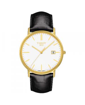 Elegancki zegarek męski TISSOT Goldrun T922.410.16.011.00 (T9224101601100) zegarek szwajcarski złoty z 18 karatowego złota