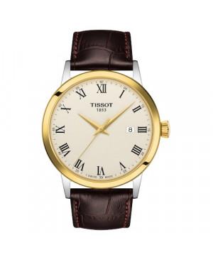 TISSOT T129.410.26.263.00 Classic Dream (T1294102626300) zegarek męski szwajcarski kwarcowy na pasku z szafirowym szkłem