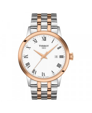 TISSOT T129.410.22.013.00 Classic Dream (T1294102201300) zegarek męski szwajcarski kwarcowy na bransolecie z szafirowym szkłem