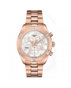 Szwajcarski, sportowy zegarek damski TISSOT PR 100 Sport Chic Chronograph T101.917.33.116.00 (T1019173311600) z diamentami