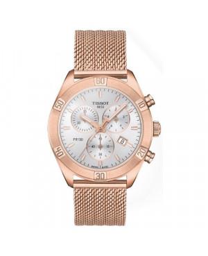 Szwajcarski, sportowy zegarek damski TISSOT PR 100 Sport Chic Chronograph T101.917.33.031.00 (T1019173303100) na bransolecie