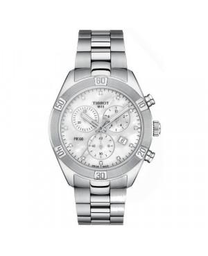 Szwajcarski, sportowy zegarek damski TISSOT PR 100 Sport Chic Chronograph T101.917.11.116.00 (T1019171111600) z diamentami