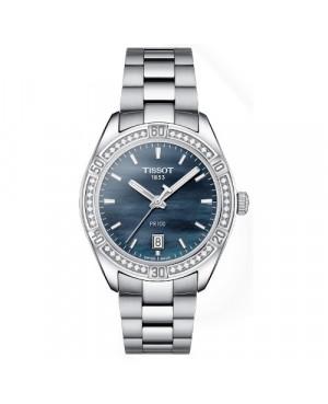 Szwajcarski, klasyczny zegarek damski TISSOT PR 100 Sport Chic T101.910.61.121.00 (T1019106112100) z diamentami szafirowe szkło