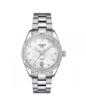 Szwajcarski, klasyczny zegarek damski TISSOT PR 100 Sport Chic  T101.910.61.116.00 (T1019106111600) z diamentami szafirowe szkło