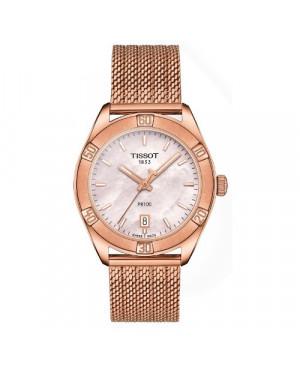 Szwajcarski, klasyczny zegarek damski TISSOT PR 100 Sport Chic T101.910.33.151.00 (T1019103315100) szkło szafirowe do pływania