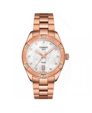 Szwajcarski, klasyczny zegarek damski TISSOT PR 100 Sport Chic T101.910.33.116.00 (T1019103311600) z diamentami na bransolecie